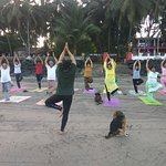 Gorai Beach yoga session