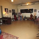 """The crosses on the floor are marking the """"sweet spots"""" for vocals or certain instruments"""