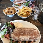 Chicken club and posh fish finger ciabatta, chips and onion rings