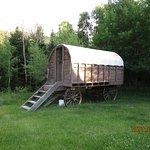 Overnight sleeping in the chuck wagon.