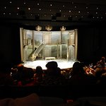 Staging for Sense and Sensibility in the Bowerman Theater.