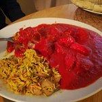 Chicken Tikka Masala in very pink sauce!