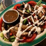 Grilled Portobello Roasted pepper salad