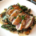 duck breast on lentils with spinach and Dijon mustard