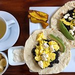 Breakfast tacos with green tea