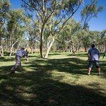 Playing cricket at the Telegraph Station.