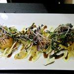 Salmon miso okonomiyaki
