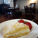 Light lemon sponge, cream , lemon curd and local strawberries........