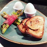 Duck Eggs with Asparagus & Pancetta Soldiers