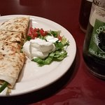 half veggie quesadilla served along with the Downtown Porter