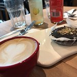 Ginger Kumabaca and Macchiato with dark chocolate tart for great start of a Monday.