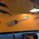 Spam musubi, counter, drinks, decor