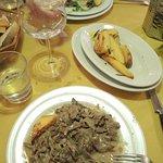 Secondi piatti - beef in Barolo sauce and Straccetti with rucola and parmesan.