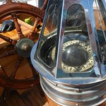 The WENDAMEEN's historic compass leading the way out on Casco Bay