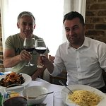 Amarone and linguini seafood in one of finest italian kitchen we experienced in our  entire trip
