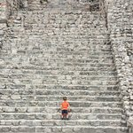 My almost-two-year-old is fearless taking on the pyramids' steps!