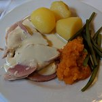 Ham with cheese sauce, tunip, beans and potatoes
