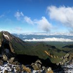 Looking back at Mt Iou and the hut