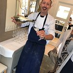 Fabio welcoming the guests with prosecco.