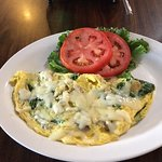 Veggie omlette loaded with cheese