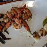 Mixed grill with scallops, Crab legs, Salmon and Schrimp. Just delicious!