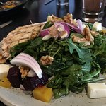 Roasted Beet Salad with grilled chicken and goat feta