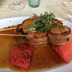 This is the scallops wrapped in bacon