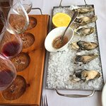 Wine flight and Hood Canal oysters