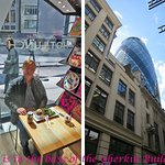 In the base of the Gherkin at the Cafe' -- friend enjoying lunch