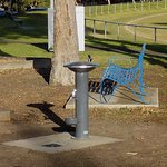 Seating and water at playground