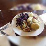 Plate piled high with veg.
