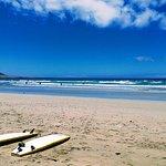 boards and waves at Famara beach