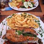 Grilled salmon and Fish Hamburger at Mare, Lagos