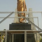 The statue of Dr. Kwame Nkrumah at the memorial park. This is the statue: 'Forward ever, backwar