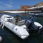 motor boat Calligari 6,70m , Yamaha 150cc , Yamaha 15cc for rent with skipper - old port Chania