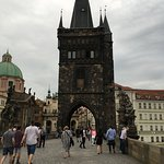 Old town tower seen from the Charles bridge, Prague