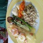 Salmon and shrimp with hollandaise