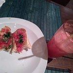 buschetta and fresh watermelon juice