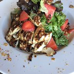 Strawberry Balsamic Chicken with mixed greens, toasted walnuts, and strawberries