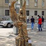 Human 'statue' Along La Rambla