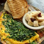 House Omelette with toast and fruit
