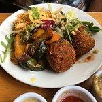 vegan spicy rosti veg and side salad