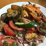 bean chilli enchilada ,veg and side salad