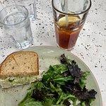Cashew chicken sandwich, salad, G E Original tea