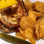 Grouper Sandwich with homemade potato chips