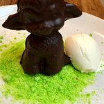 "Bah bah sheep (dark chocolate sheep filled with white chocolate fondant on ""grass"""