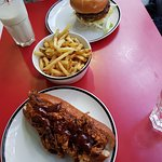 Hot Dog with Pulled Pork and Classic Burger with Fries and Mint Milkshake