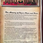 Menu with the history of Dave's Diner