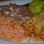 Flautas, Mexican rice, refried beans w cheese, guacamole