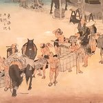 Hiroshige - Fujieda: Transfer from Horse to Manpower (Woodblock)